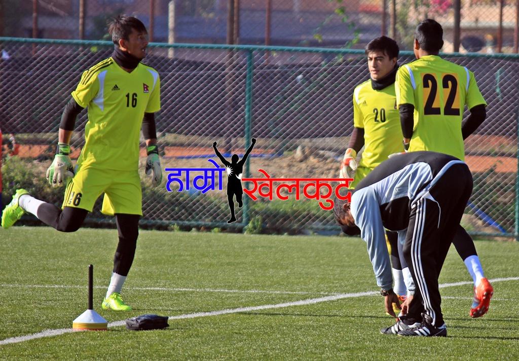 National Team nepal goalkeepers Kiran Chemjong, Bikesh Kuthu and Amrit Chaudhary