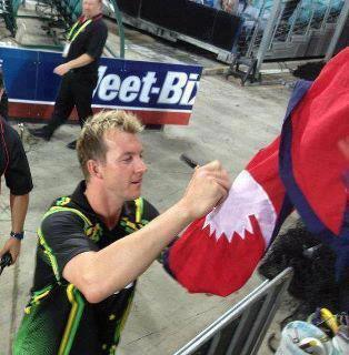 Brett Lee Nepal Flag