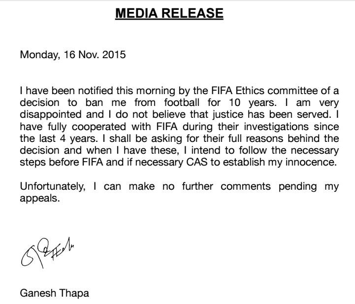 Ganesh Thapa Press Release