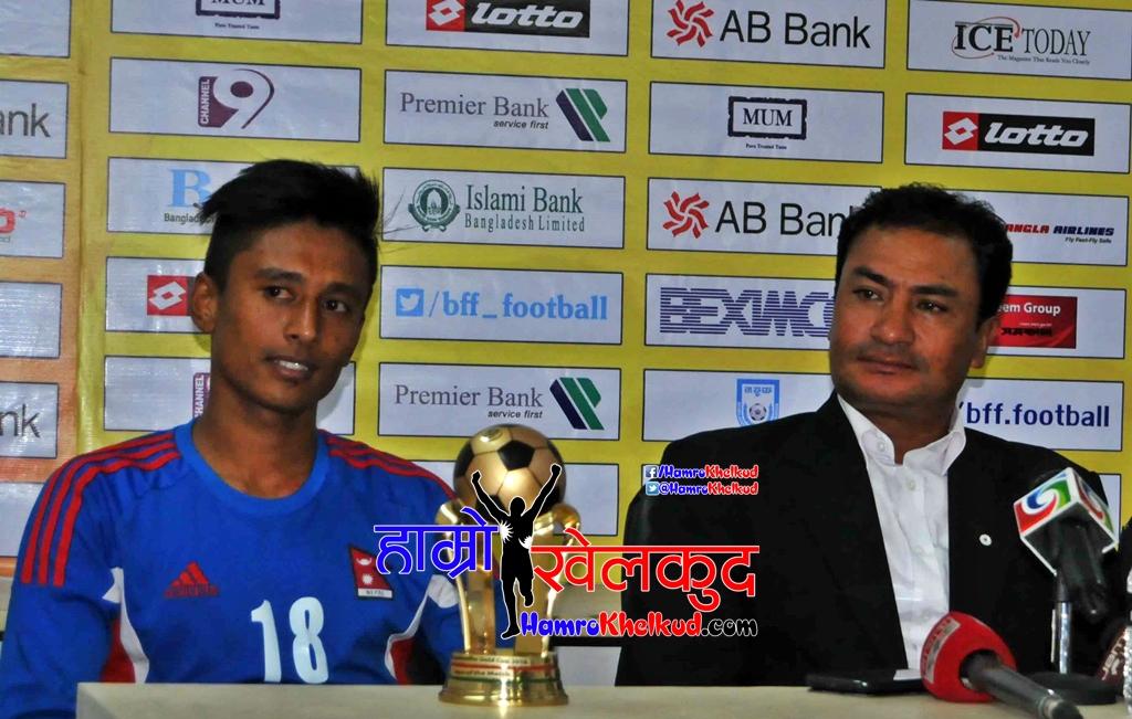 Post Match Conferenec Nepal Head Coach Balgopal Maharjanjpg - MVP Nawayug Shrestra Nepal a