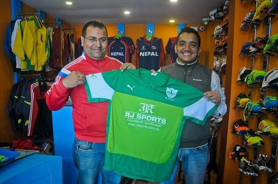 Owner of RJ Sports hands over the jersey to chairman of Dhangadi Cricket Academy at Kamalpokhari, Kathmandu on Monday, February 22, 2016. Photo: Bijay Gajmer/Republica/Nagarik