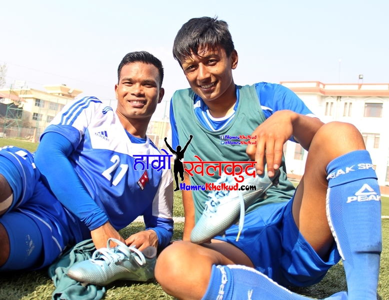 Nawayug Shrestha and Bharat Khawas Nepal Football Tribhuwan Army Club