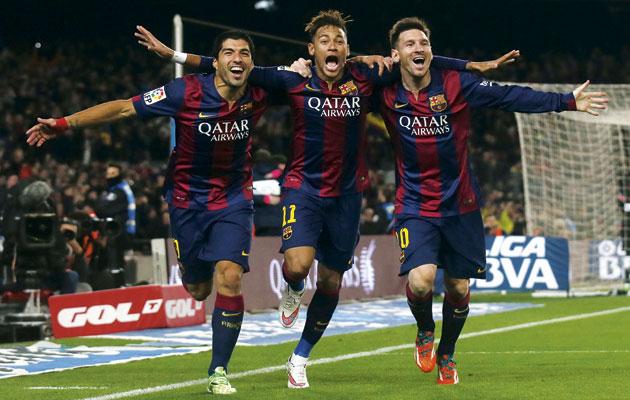 Barcelona Champions MSN Messi neymar SUarez