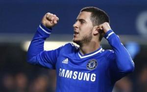 Hazard celebrates after scoring against Tottenham