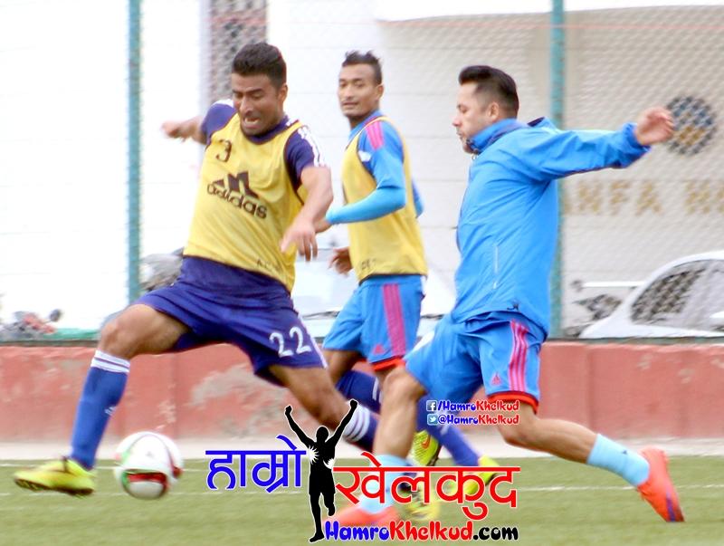 प्रशिक्षणका दौरान कप्तान अनिल गुरुङ, उपकप्तान बिराज महर्जन र राजेन्द्र रावल