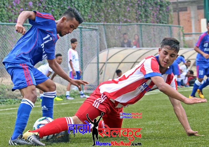 Aditya Shakya tries to get past devender of CMG Club Sankata (RED) vs Ruslan Three Star Club (BLUE) (3)