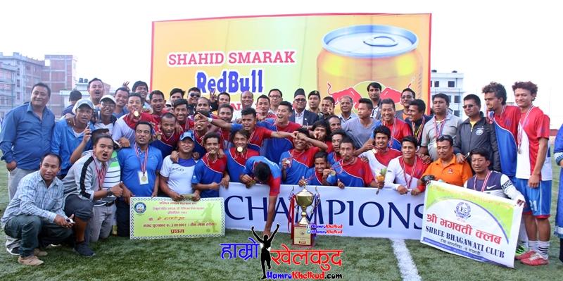 Shree Bhagwati Club celebrating the title