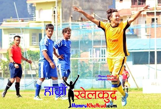 Manish Thapa of Boys Union(Yellow) celebrates scoringvs Samajik (Blue)  (1)