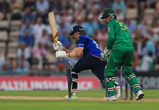 England's Joe Root flicks the ball away for four runs against Pakistan during their Royal London One Day International at the Ageas Bowl in Southampton, England, Wednesday Aug. 24, 2016. (Adam Davy / PA via AP)