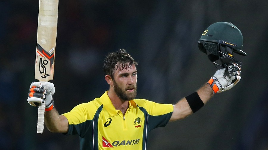 Australia's Glenn Maxwell celebrates scoring a century against Sri Lanka during their first twenty20 cricket match in Pallekele, Sri Lanka, Tuesday, Sept. 6, 2016. (AP Photo/Eranga Jayawardena)