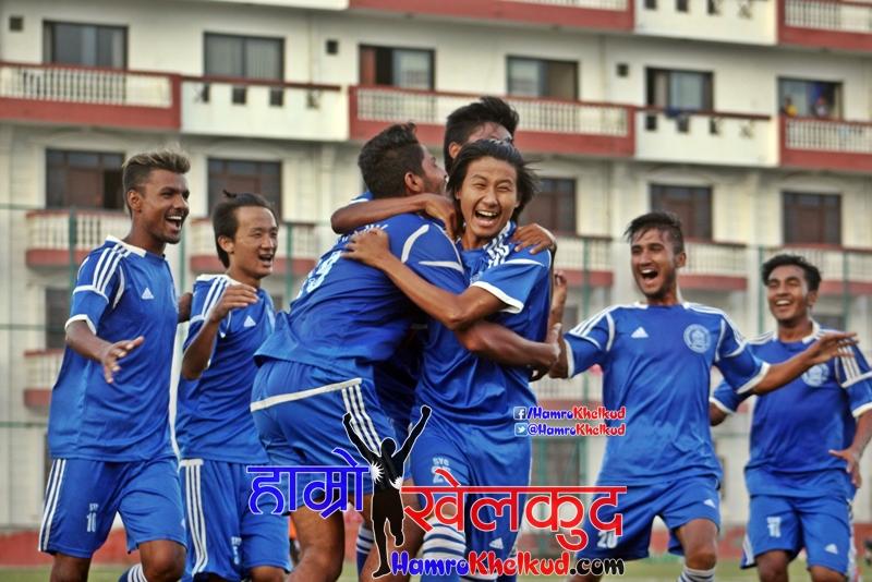 Players of Samajik celebrate the winner in Samajik (Blue) vs Mahabir (Orange) (4)