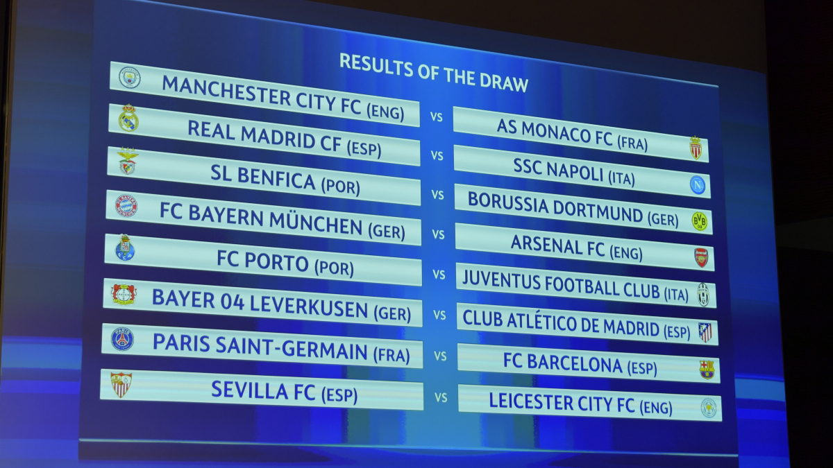 NYON, SWITZERLAND - DECEMBER 12: A view of the results table following the UEFA Champions League 2016/17 Round of 16 Draw at the UEFA headquarters, The House of European Football on December 12, 2016 in Nyon, Switzerland. (Photo by Harold Cunningham - UEFA/UEFA via Getty Images)