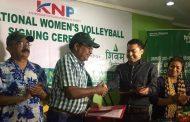 केएनपी महिला भलिबललाई शिवम् सिमेन्टको साथ