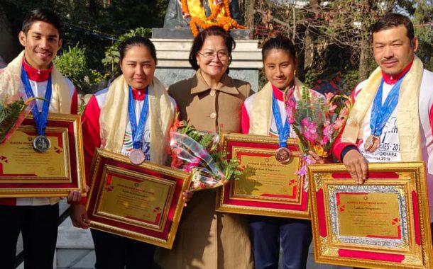 साग पदक विजेता एभिएमबाट सम्मानित